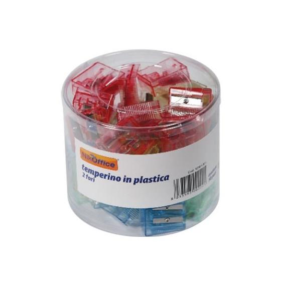Temperamatite Plastica Trasparente Foro doppio Espositore 50 Temperamatite NikOffice - 2