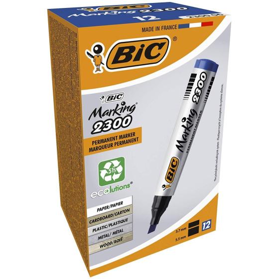 Marcatore permanente BIC 8209253 Marking 2300 - Blu - Punta a scalpello - Conf. 12 pezzi Bic - 3