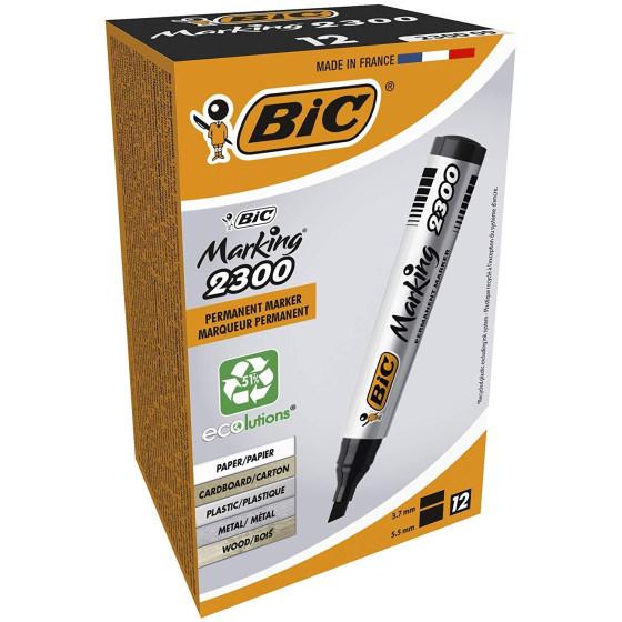 Marcatore permanente BIC 8209263 Marking 2300 - Nero - Punta a scalpello - Conf. 12 pezzi Bic - 3