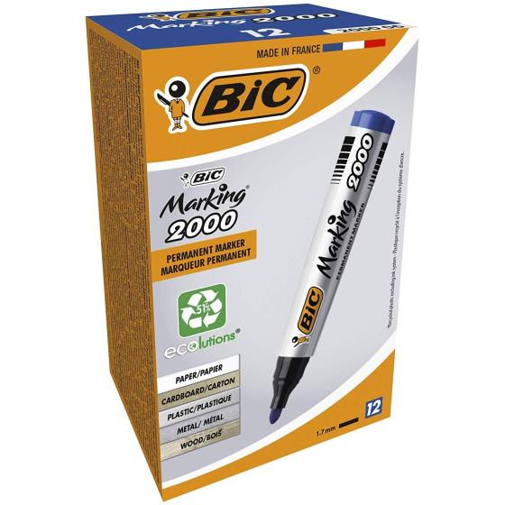 Marcatore permanente BIC 8209143 Marking 2000 - Blu - Punta tonda - Conf. 12 pezzi Bic - 4