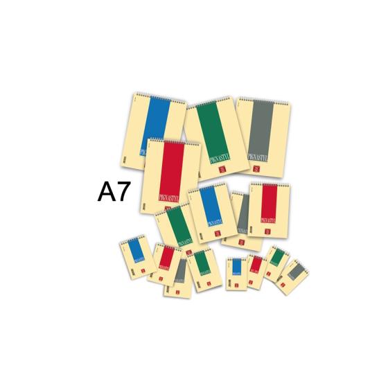 Blocchi spiralati Pigna Styl 02156235M - Formato A7 / 8X12 - Rigatura 5M - Colori ass. - Confezione 10 pz Pigna - 1