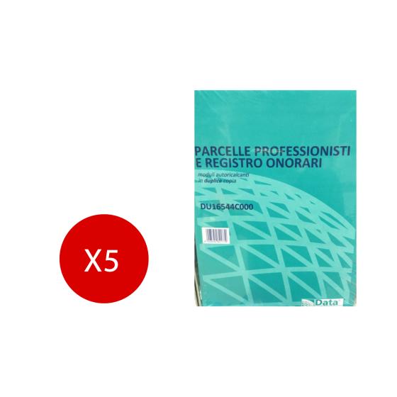 Blocco parcelle Professionisti e registro onorari 50x2 Duplice copia 14,8X21,5 5 Pezzi Data Ufficio - 1