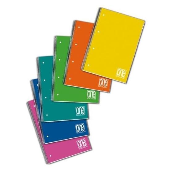 Quaderno One Color Rigatura 1R Spiralato con fori per archivio 2939 16,2x21 6 Pezzi Blasetti - 1