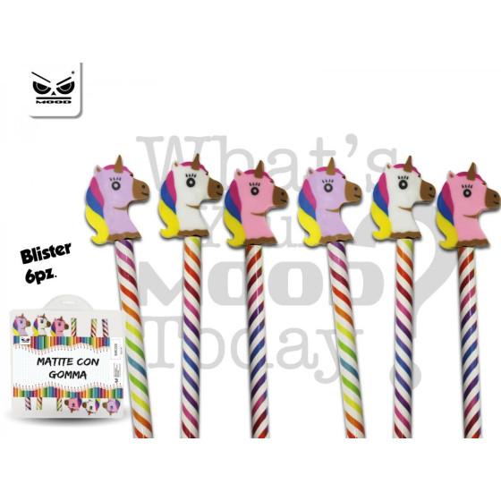 Mood ST5234 - Blister 6 matite con gomma Unicorno Mood - 1