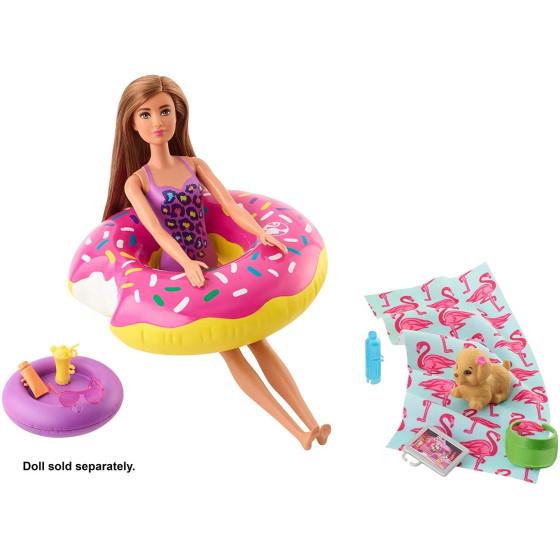 Barbie FXG38 Playset Arredamenti esterni - Ciambella Donot Gallegiante Mattel - 5