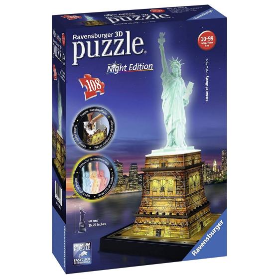 Puzzle 3D Night Edition Statua Della Libertà 12596 Ravensburger - 2