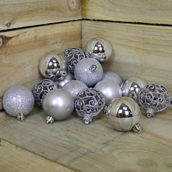 Decorazione Palle Albero Di Natale Argento 16 Palle 6cm 02851  Decoris - 2