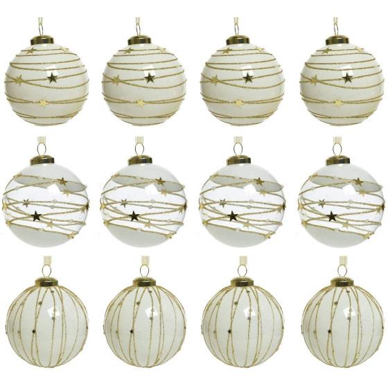 Decorazione Palle Albero Di Natale Vetro Bianco stellato 12 Palle 8cm 06424  Kaemingk - 1