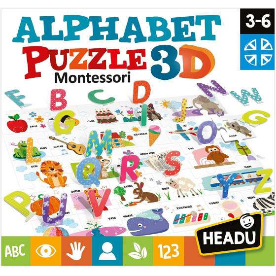 Montessori Puzzle dell'Alfabato Inglese Headu - 3