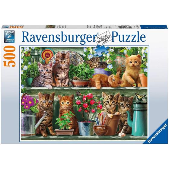 Gatti su Scaffale Puzzle 500 pezzi 14824 Ravensburger - 1