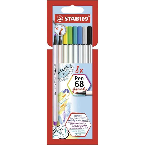 Pennarello Premium Pen 68 Brush Astuccio da 8 Pezzi 568/08-21 Stabilo - 5