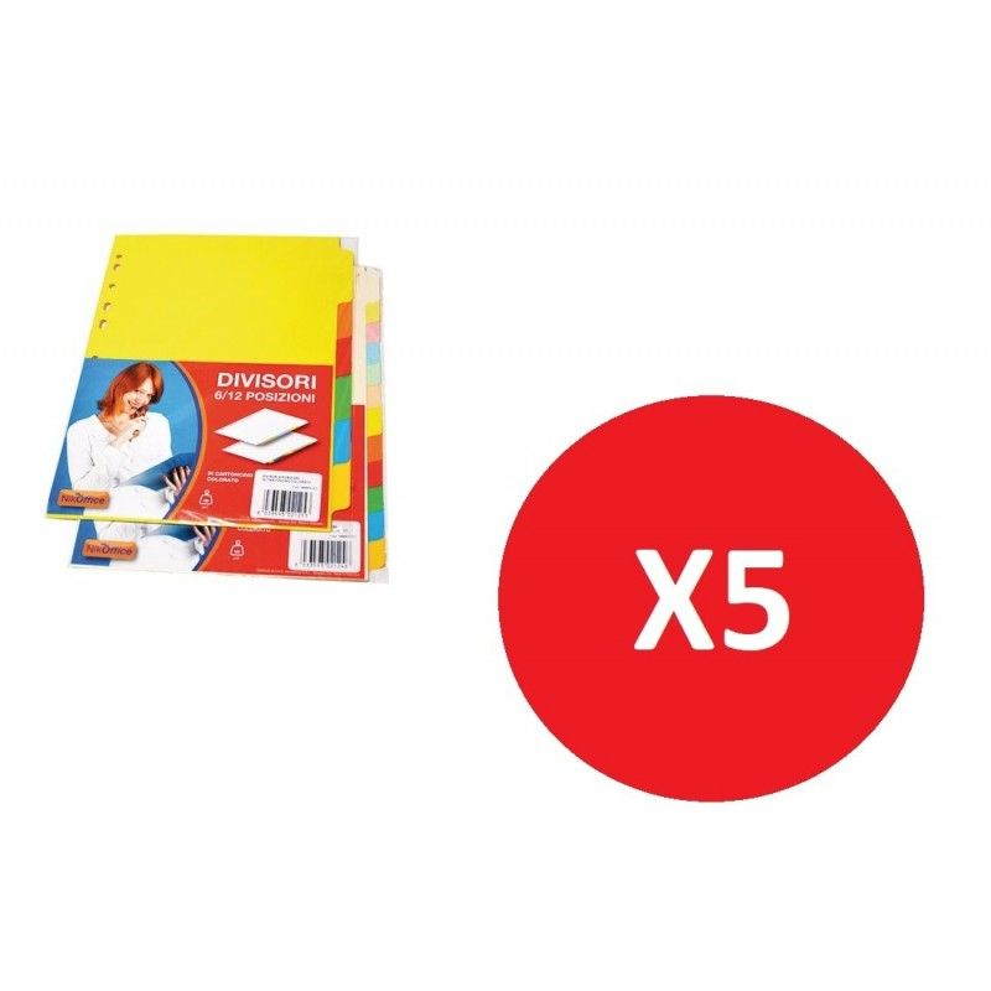 NikOffice Divisori in Cartoncino 6 Tasti 5 Pezzi 39NIK012/2 Originale - 1