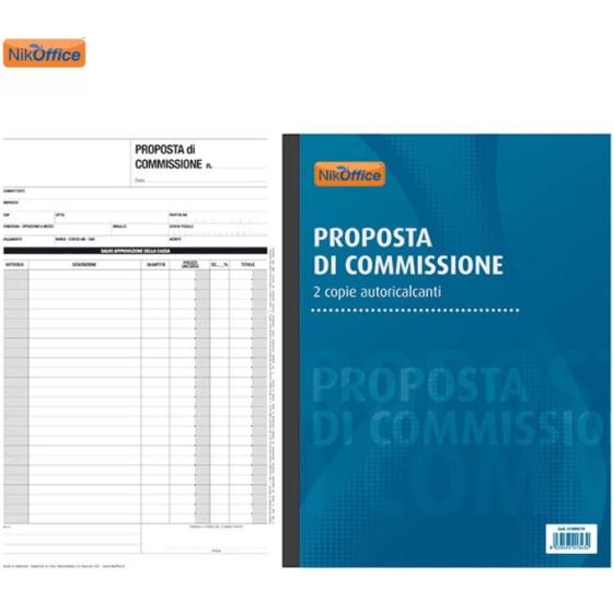Blocco Proposta di Commissione Duplice 2 Copie Autoricalcanti 50 Moduli A4 41NIK019 NikOffice - 1