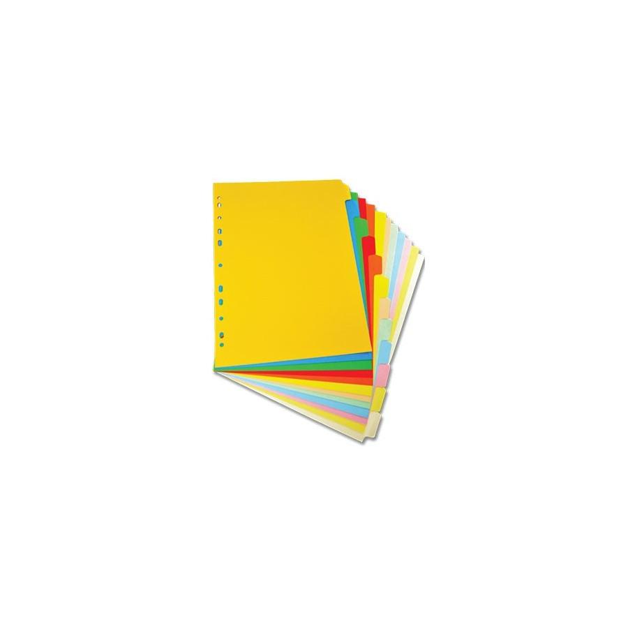 Divisori in Cartoncino Colorato 12 Tasti 4 Pz NikOffice - 1