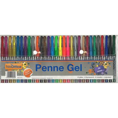 Penne Gel Colorate 30 Pz 20NIK070 NikOffice - 1