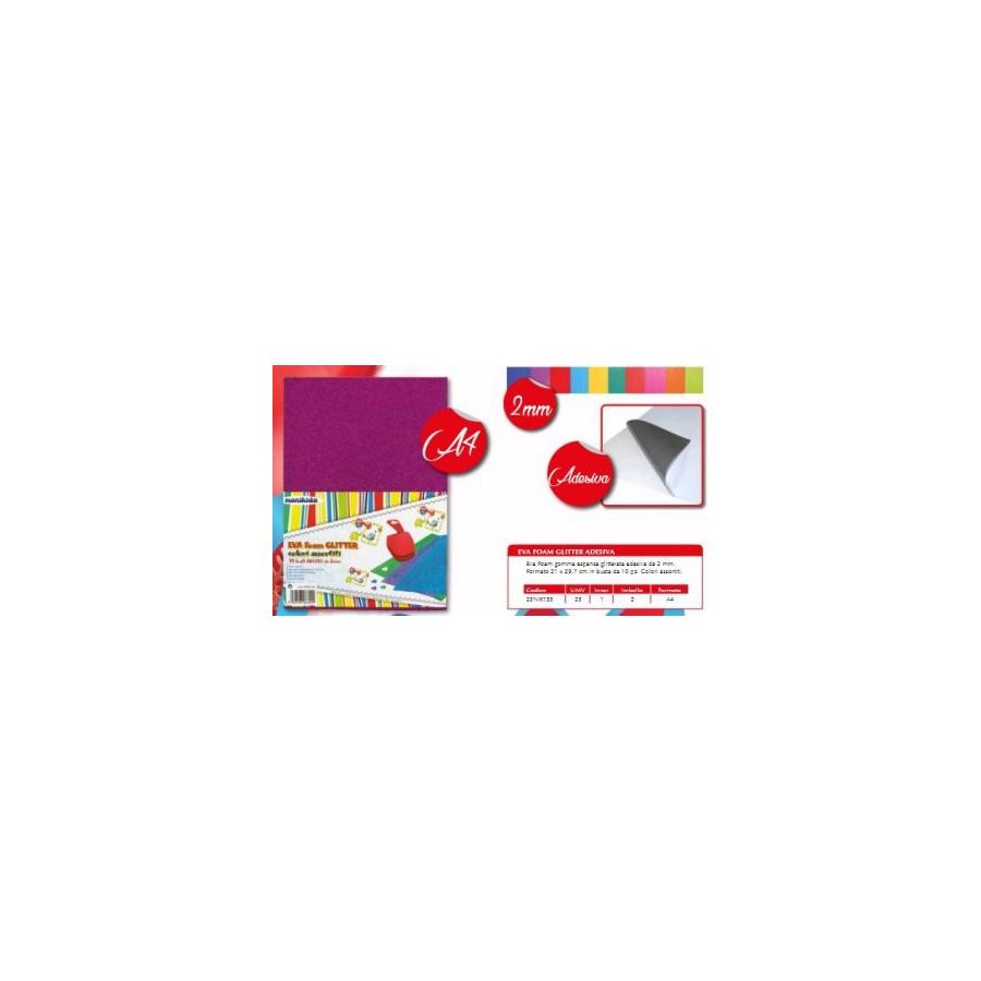 Fogli Eva Foam A4 210x297mm 2mm Adesivi Glitterati Colori Assortiti 10 Fg 23NIK133 NikOffice - 1