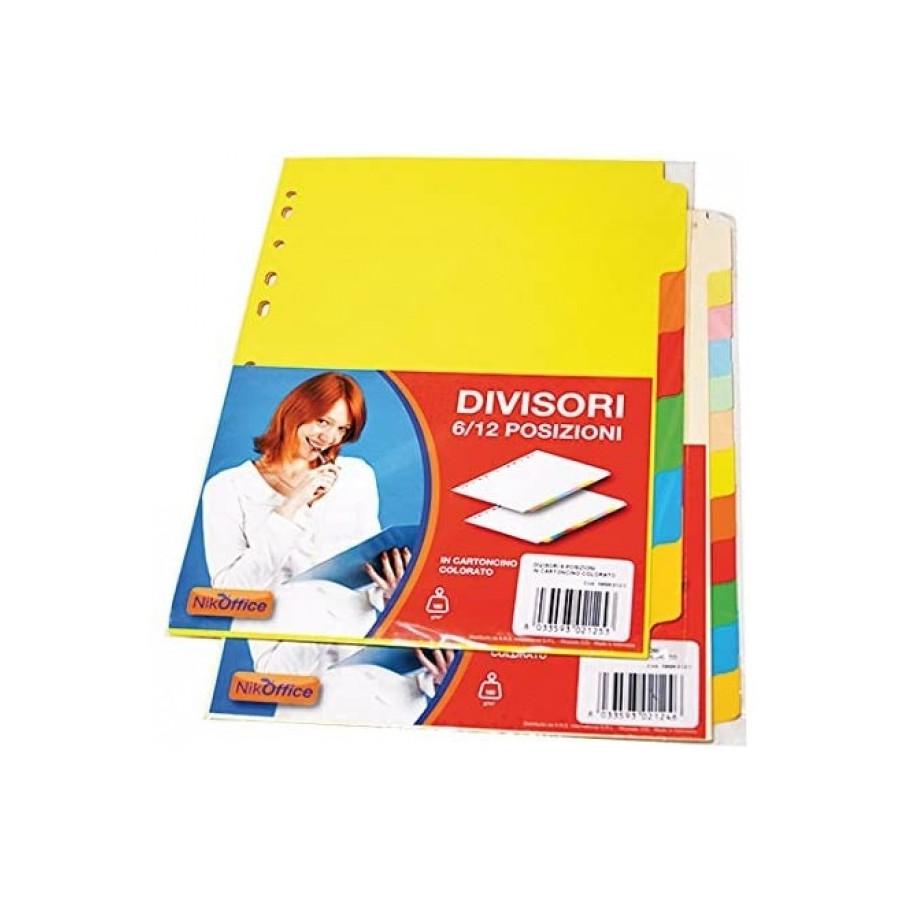 Divisori in Cartoncino Colorato A5 148 x 210 6 Fg 39NIK012/3 NikOffice - 1