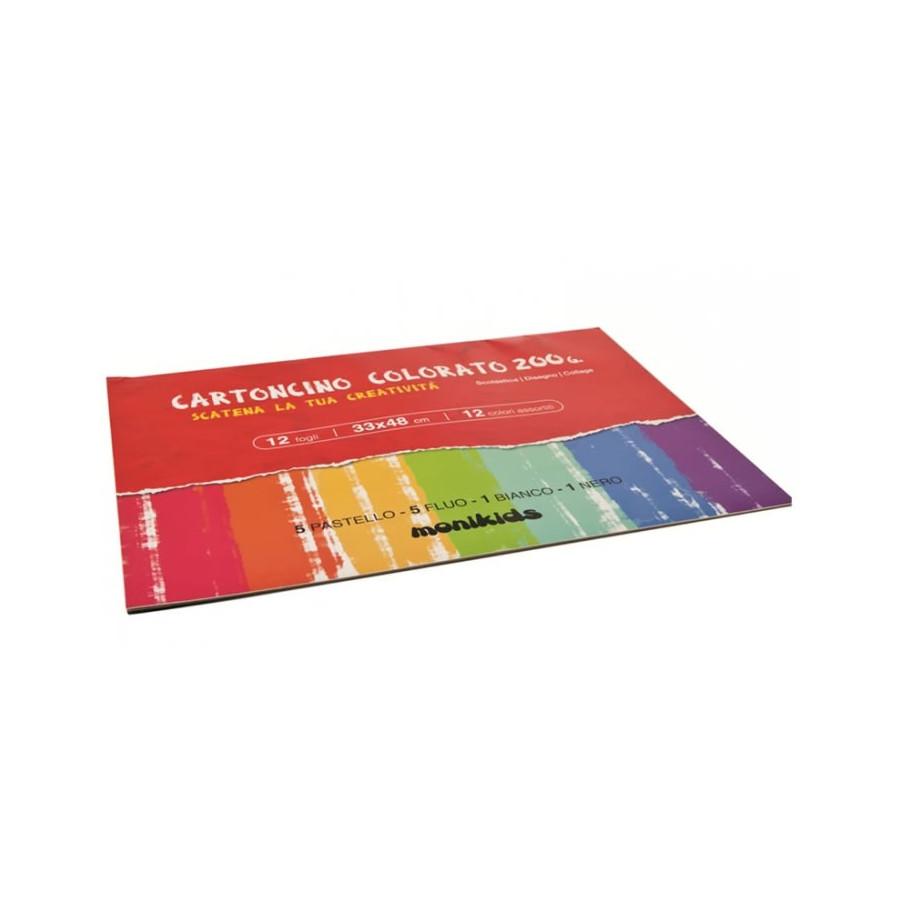 Blocchi di carta cartoncino 200g 33x48cm 12 Fg Confezione 10 Album Colori Assortiti 23NIK169 NikOffice - 1