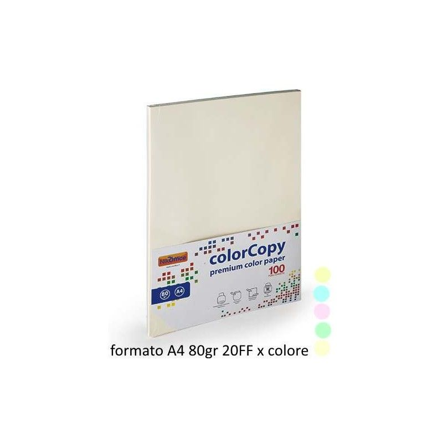 Risma Carta A4 210x297mm 100 Fogli 80g Colori Pastello 23NIK095 NikOffice - 1