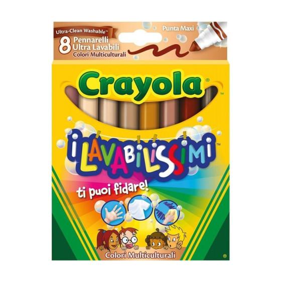 I Lavabilissimi Pennarelli a Punta Maxi Colori Multiculturali 8 pezzi Crayola - 1