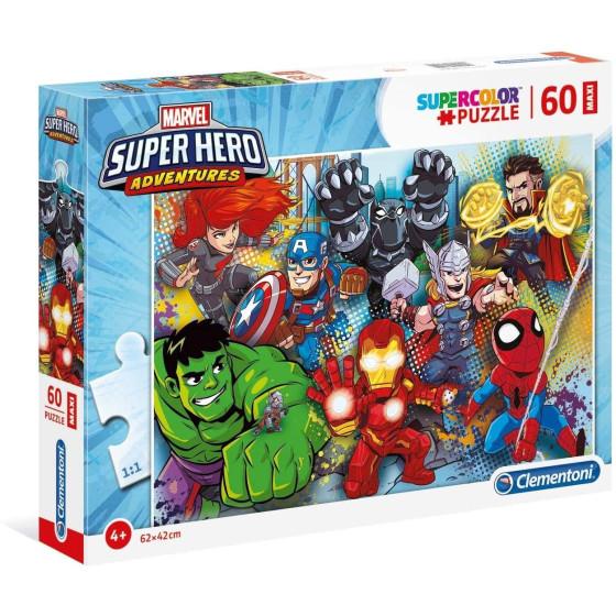 Marvel Super Hero Supercolor Puzzle 60 Maxi Pezzi 26454 Clementoni - 1